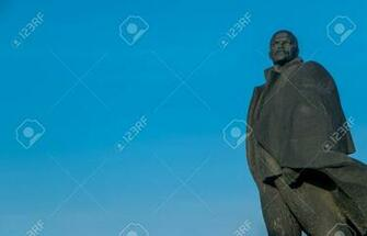 Monument Of Lenin On A Background Of Blue Sky In Novosibirsk Stock