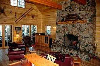 Log Cabin Fireplace Background Idaho log homes for sale moose