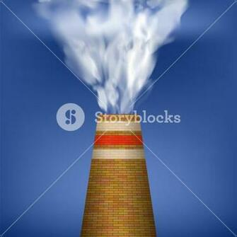 Factory Chimney and Smoke on Blue Sky Background Environmental