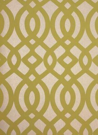 Du Barry Wallpaper Ogee trellis wallpaper in yellow on a beige mica
