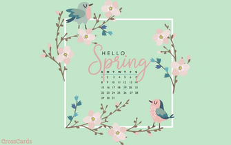 March 2020   Hello Spring Desktop Calendar  March Wallpaper