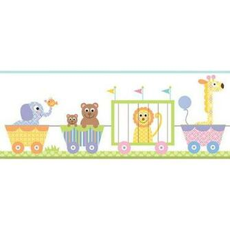 Circus Train Pastel Prepasted Wall Border   Wall Sticker Outlet