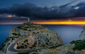 Wallpaper road sea the sky clouds stones rocks dawn coast