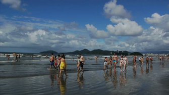 SANTOS BRAZIL People chilling at Santos Beach Sao Paulo Brazil