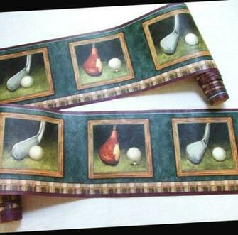 Man Cave Golf Wallpaper Border 6 Yards by LinensandThings on Etsy