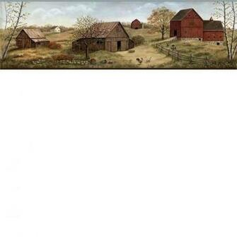 Brown Farmstead Wallpaper Border   Rustic Country Primitive