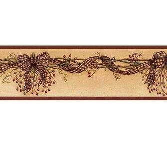 Rosehip Swag Wallpaper Border   Rustic Country Primitive