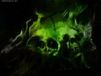 Green Flaming Skulls Wallpaper Picture 6952