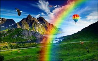Rainbow and green nature fabulous wallpapers   New hd