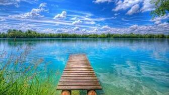 Background Beautiful Nature Lake Blue Sky With White