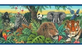 Home Blue Jungle Animals Wallpaper Border