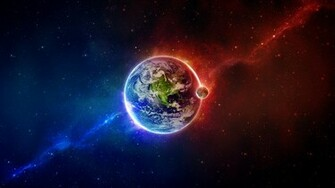 space scene eart blue red earth full hd wallpaper