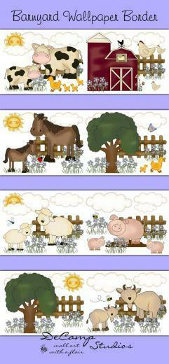 Barnyard Farm Animals Wallpaper Border Wall Decals Girls Room [445