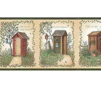 Outhouses Wallpaper Border   Rustic Country Primitive