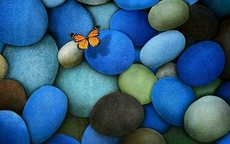 pics Butterfly On Blue Stones   Wallpaper 39212 EVERYTHING