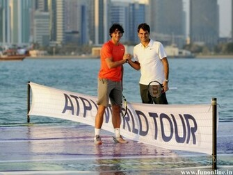 Rafael Nadal with Roger Federer in ATP World Tour Wallpaper