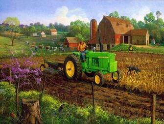 John Deere in a Farm Scene Im A Little Bit Country Pintere