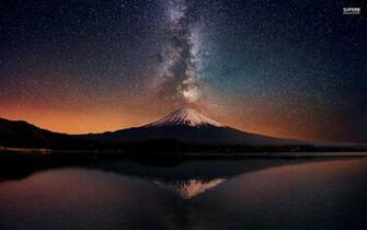 Mount Fuji Night Stars Sea wallpapers Mount Fuji Night Stars Sea