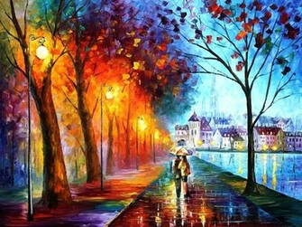 Art leonid afremov city couple couple umbrella umbrella lights