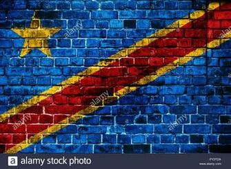 National flag of Democratic Republic of Congo on a brick
