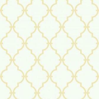 Orange Yellow Modern Baby Trellis Wallpaper in White Yellow
