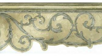 Home Silver Beige Column Molding Swirls Wallpaper Border