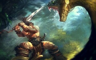 snakes fantasy art Conan the Barbarian swords wallpaper background