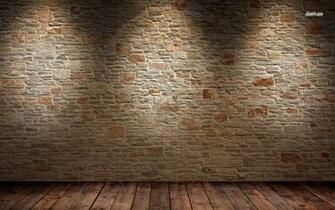 Brick wall and wood floor wallpaper   Abstract wallpapers   14567