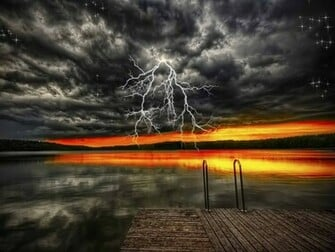 View Thunderstorm on Sunset Sky wallpaper Download Thunderstorm on