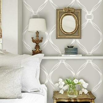 Tiffany Knots Light Grey PEEL STICK Repositionable Fabric Wallpaper