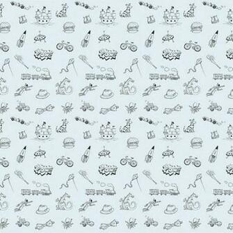 Doodle BlueBlack Removable Wallpaper