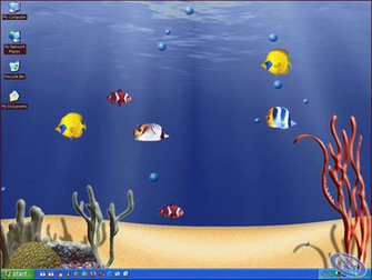 IMAGE ANIMATED WALLPAPER FEATURING SWIMMING FISH IN A 3D AQUARIUM