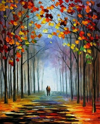 by leonid afremov steam of autumn painting by leonid afremov