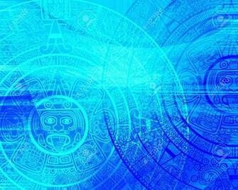 Maya Prophecy Background Of Blue Color Stock Photo Picture And