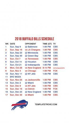 2018 2019 Buffalo Bills Lock Screen Schedule for iPhone 6 7 8 Plus
