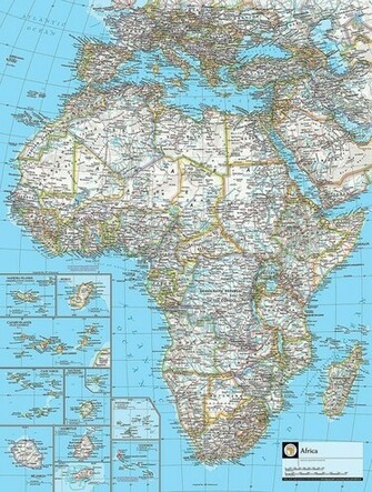 Map of Africa Wallpaper Wall Mural   Self Adhesive   Multiple Sizes