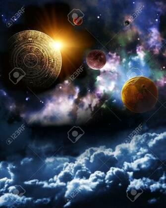 Maya Prophecy Vertical Background With Space Scene Stock Photo