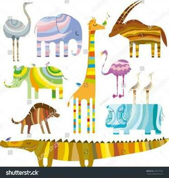Some Colourful African Animals Dreamtime On Stock Vector Royalty