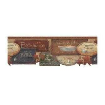 with rustic bath signs wallpaper border this charming wallpaper will