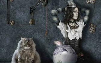 Cat fish girl steampunk gothic dark fantasy wallpaper 1920x1200