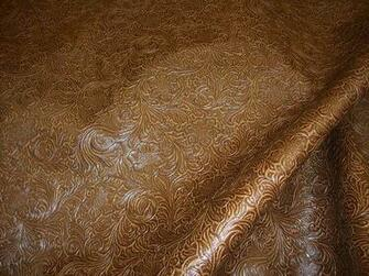 Laredo Embossed Floral Faux Leather vinyl upholstery fabric per yard