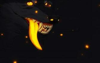 Wallpaper fireflies fear darkness wolf mouth fangs werewolf