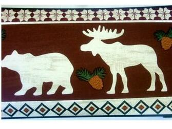 Bears Moose Lodge Wallpaper Border