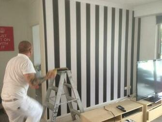 Black and White Striped Wallpaper Used By Bec and George   The Block