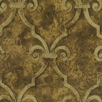Buy Wallpaper Designer Gold Metallic Trellis Lattice on Brown Faux by
