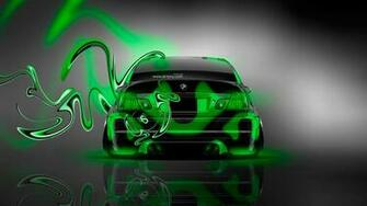 BMW M3 Back Plastic Green Neon Car 2014 HD Wallpapers design by Tony