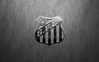 Download wallpapers Santos FC Brazilian football club steel logo