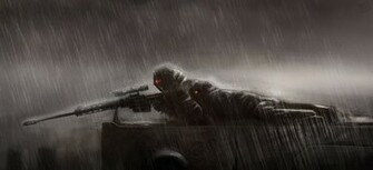 sniper rain sniper lies position rain sniper rifle wallpaper