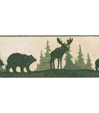 Woods Green Bear And Moose Silhouette Wallpaper Border Sample Jo Ann