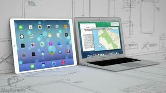Mockup of 129 inch iPad Pro next to 13 inch MacBook Air